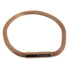 Sterling Silver Rose Gold Plated Magnetic Clasp Mesh Bangle Bracelet