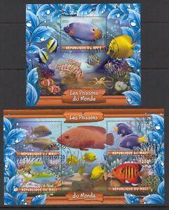 MALI 2020 LES POISSONS DU MONDE FISH PESCA MARINA SEA ANIMALS FAUNA STAMPS CTO