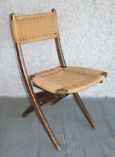 Vintage HANS WEGNER Danish Style Folding Rope Chair. Mid Century Modern Design