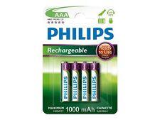 4 X Philips AAA NiMH Rechargeable Batteries - 1000 mAh