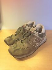 New Balance 574 Size 10.5 10 Green White Suede NB Trainers Shoes
