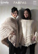 "KNITTING PATTERN WENDY 5083 LADIES 30-42"" TEXTURED PONCHOS WITH/OUT BORDER AUA"