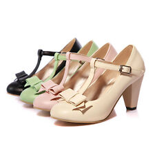 Womens High Block Heels Bowknot Mary Jane T-strap Buckle Pumps Shoes Plus Size