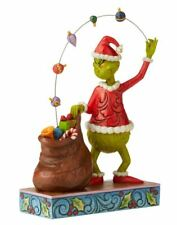 "Jim Shore 2020 Grinch Juggling Gifts Into Bag  8.5"" Figurine Statue Dr. Seuss"