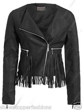 Size 8 10 12 14 16 NEW Women's BIKER JACKET FRINGE PU FAUX LEATHER Black Tan