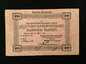 German Africa Banknote Deutsch Ostafrika 20 - Zwanzig Rupien 1915