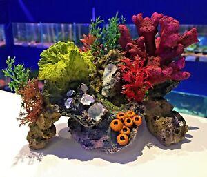 17cm Multi Colourful Coral Garden Rocks & Plants Aquarium Fish Ornament COR1