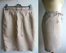 JAEGER Linen Cotton Skirt with Pockets Gold Zippers Size 8