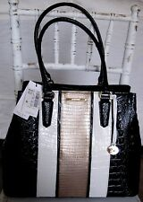 BRAHMIN LEATHER LARGE JOAN AMIDA BLACK WHITE GOLD SHOULDER TOTE BAG NEW NWT $335