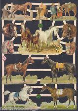 MARE COLT HORSE WORK DECOPAUGE SADDLE RIDE HARNESS ARABIAN PAPER SCRAP EF GERMAN