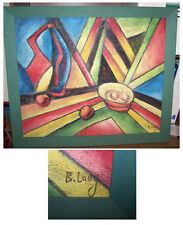 """Picture Painting Abstract Painting on Coconut Fibre SIGNED """"B. Long"""""""