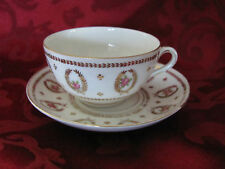 Imperial Crown China cup & saucer set white, gold wreaths, pink roses Austria