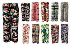 Polyester Flower Loose Fit Trousers for Women