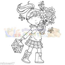 New Stampavie FLOWER GIRL Clear Stamp Child Spring Bouquet Summer Butterfly Boot