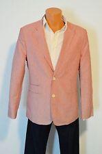 New $450 John Varvatos U.S.A. 611 Brick Blazer Red Stripe Jacket Linen Blend 38