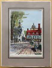 "Vintage Marc Signed Hand-Colored Engraving Rue du Tresor Quebec - Mat 10"" x 13"""