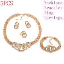 Luxury Charm Women Gold Plated Crystal Bridal Jewelry Sets Necklace Earring Set