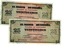 25 pesetas 1938 Emisión de Burgos Pareja @@ EXCELENTES @@