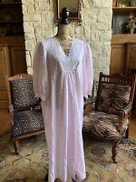 Vintage Komar Nightgown Pink Gauze White Lace USA M 12/14 Excellent