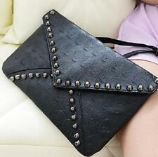 Fashion Women Punk Skull Spike Envelope PU Leather Clutch Handbag Bag Black ONE