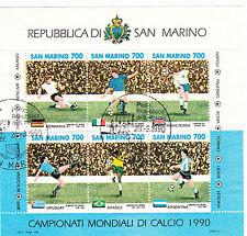 SAN MARINO  francobolli usati 1990 in foglietto 1990 MONDIALI DI CALCIO VEDI BF
