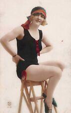 BATHING BELLE ON BEACH CHAIR VINTAGE PHOTOGRAPH POSTCARD Pretty Girl