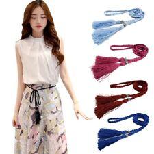 Women Belt Handmade Braided Waist Strap Tassel Skinny Waistband Dress Accessory