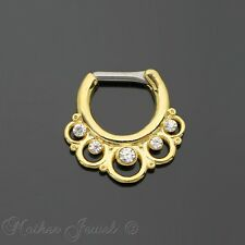 GORGEOUS 14G 14K YELLOW GOLD IP CZ ROUND LOOP NOSE PIERCING SEPTUM RING 14 GAUGE