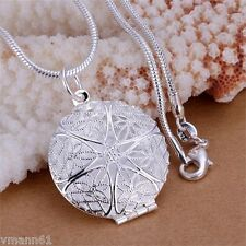 Beautiful Silver Plated Locket Pendant Necklace Link Chain