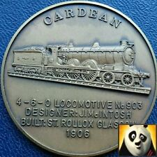Railway History Bronze Medal Coin Cardean Locomotive High Relief Details