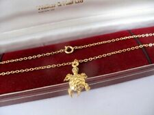 "NEW 1970s Vintage 9ct GOLD Plated TURTLE Pendant 17"" Trace Chain NECKLACE  5.6g"