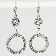 Circle Ohrringe lang Silber Swarovski Kristall Pavé Vintage Retro – Crystal klar