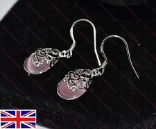 Lovely 925 Sterling Silver Plated Pink Opal Drop Hook Earrings