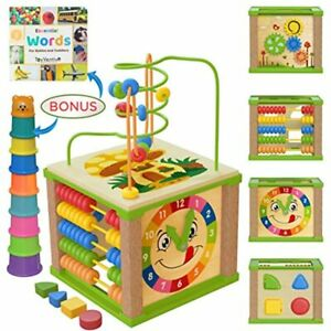 TOYVENTIVE Wooden Kids Baby Activity Cube - Boys Gift Set One 1, 2 Year Old Toys