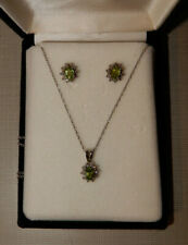 Vintage 14k White Gold Peridot & Diamond Pendant & Pierced Earrings
