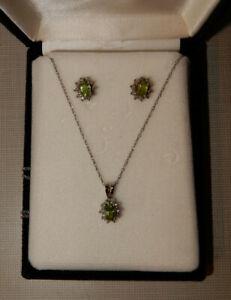 Vintage 14k Oro Blanco Peridoto & Colgante con Diamante & Pendientes
