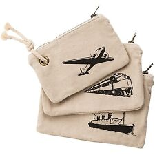 Lot of 3: NWT Henley Brands Linen Gear Bags Pouches Plane Train Boat Set $50