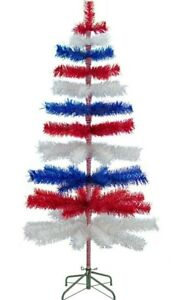 4th of July Tinsel Trees Classic Tinsel Feather Tree Red, White, & Blue 5FT