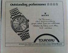 1982 Rolex Tourneau men's watch vintage original ad