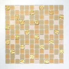 selbstklebend Glasmosaik beige gold Glänzend Bad Wand 200-4M362 | 10Mosaikmatten