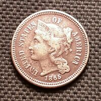 1865 Three Cent 3 Cent, Nickel 3CN - Very Fine+ VF+