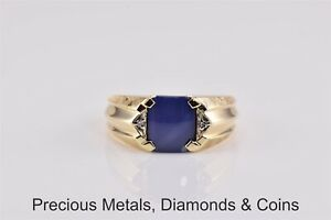 10k Yellow Gold Blue Sapphire Diamond Accented Fluted Ribbed Band Ring Sz: 10.5