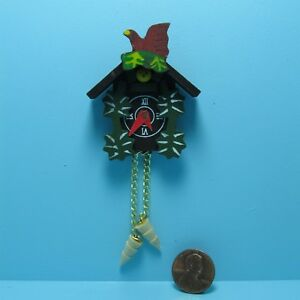 Dollhouse Miniature Wood Wall Cuckoo Clock Fancy Painted Detail IM66065