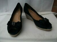 "VAN DAL Unity UK 4 / 37 Navy Blue suede leather peep toe court shoes 2.5"" heels"