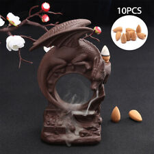 Porcelain Ceramic Dragon Backflow Cone Incense Burner Holder Buddhist Home