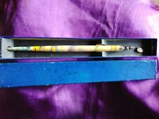 ANTIQUE BOXED WOODEN HAND DECORATED LACQUERED DIP INK PEN  MITCHELL NIB 19.5cm