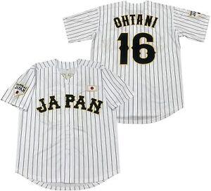 Men's #16 Ohtani Hip Hop Short Sleeves Japan Baseball Jerseys White Black