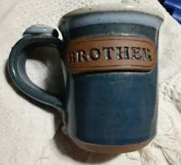 Vintage Brother Handmade Pottery Coffee Mug Cup blue thumb rest