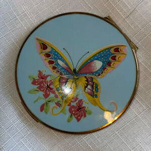 Stratton Butterfly Vintage Compact, Blue, Yellow, Pink, Antique