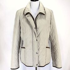 Croft & Barrow Quilted Coat Sz L Tan Khaki Zip Snap Front Pockets Polyester